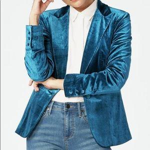 Just fab blue velvet blazer Small